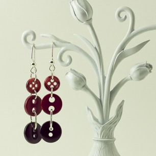 Dangle Button Earrings – Maroon