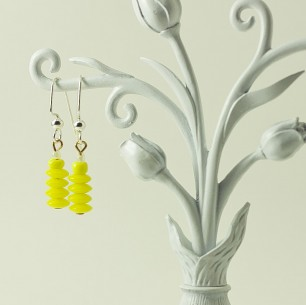 Dangle Bead Earrings- yellow