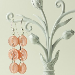 Dangle Button Earrings – Pale Pink
