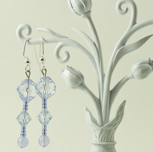 Dangle Bead Earrings – Light Blue