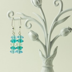 Dangle Bead Earrings- blue multi