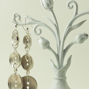 Dangle Button Earrings &#8211; Brushed Metal