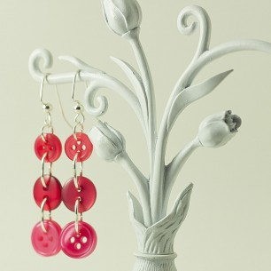 Dangle Button Earrings &#8211; Hot Pink