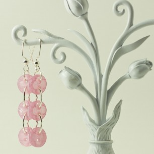 Dangle Button Earrings &#8211; Baby Pink