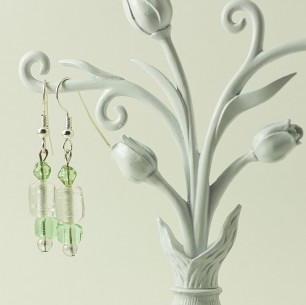 Dangle Bead Earrings- mint & clear