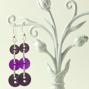 Dangle Button Earrings – Purple