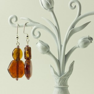 Dangle Bead Earrings &#8211; Root Beer