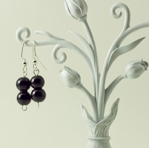 Dangle Bead Earrings- black