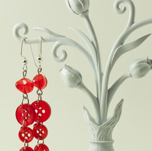 Dangle Button Earrings – Cherry Red