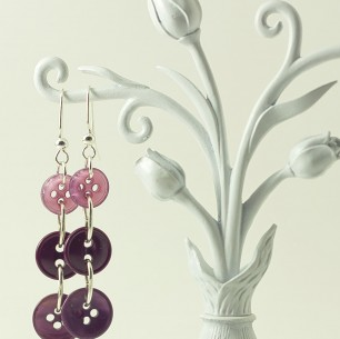 Dangle Button Earrings &#8211; Violet Multi