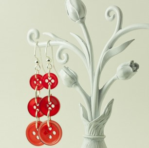 Dangle Button Earrings – Red