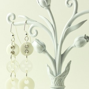 Dangle Button Earrings &#8211; Clear White Multi