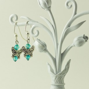 Dangle Bead Earrings- Blue Butterflies