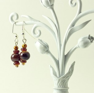 Dangle Bead Earrings- Brownie
