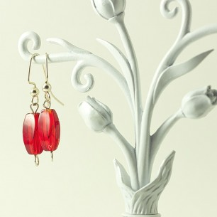 Dangle Bead Earrings- simply red