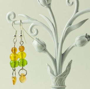 Dangle Bead Earrings &#8211; Citrus