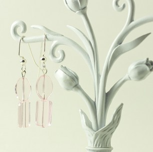 Dangle Bead Earrings &#8211; Sheer Pink