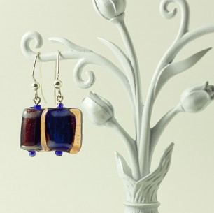 Dangle Bead Earrings – Cobalt & Orange