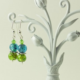 Dangle Bead Earrings – Electric Blue & Lime