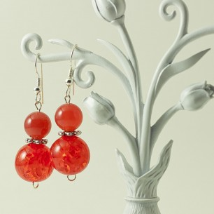 Dangle Bead Earings – Coral
