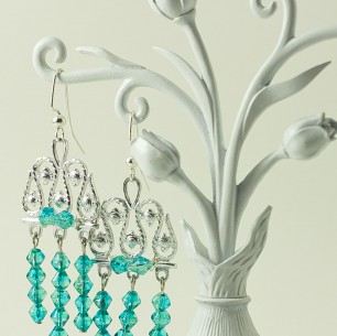 Dangle Bead Earrings &#8211; Electric Blue Chandelier