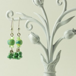 Dangle Bead Earrings &#8211; Soft Green