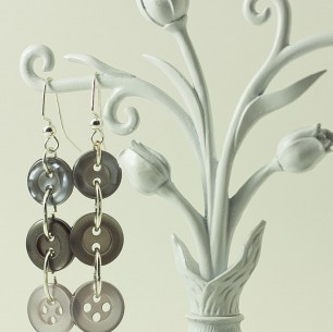 Dangle Button Earrings – Slate