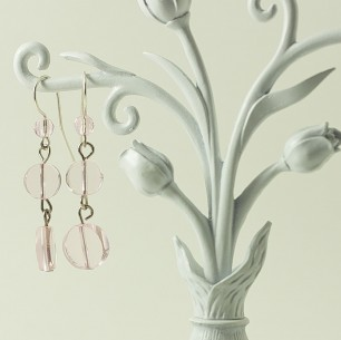 Dangle Bead Earrings &#8211; Sheer Pink Circles