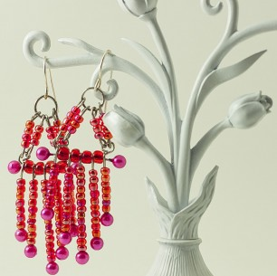 Dangle Bead Earrings &#8211; Magenta Chandelier