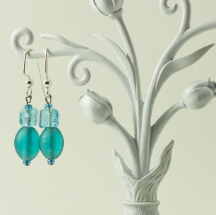 Dangle Bead Earrings – Soft Blue