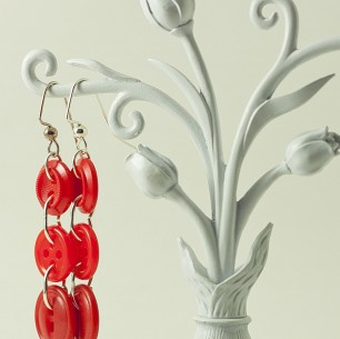 Dangle Button Earrings &#8211; Crayon Red