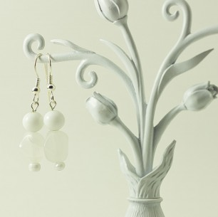 Dangle Bead Earrings – White