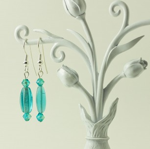 Dangle Bead Earrings- Bright Blue